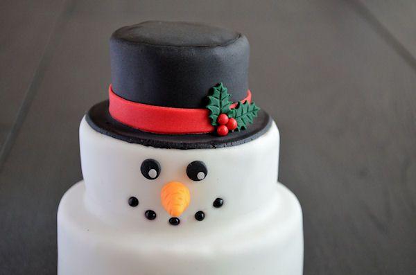 Een duidelijke en handige how to om zelf een sneeuwpop taart te maken.