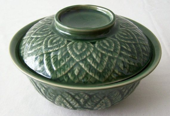CERAMIC Green BOWL with Lid  Asian Leaf Design by BambooBayBazaar