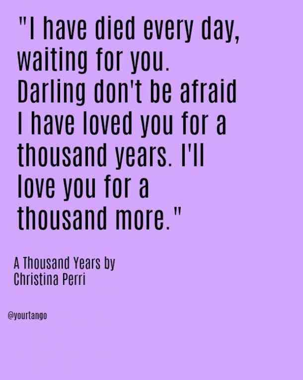 I have died every day, waiting for you Darling, don't be afraid, I have loved you for a thousand years I'll love you for a thousand more