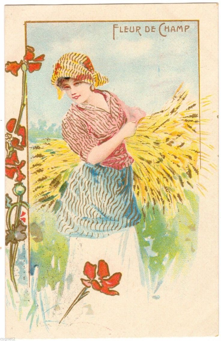 Postcard French Art Nouveau Woman Harvest Fleur De Champ