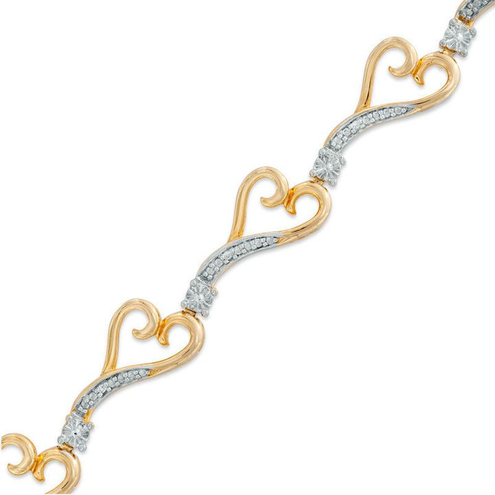Zales Diamond Accent Heart Link Bracelet in Sterling Silver with 14K Gold Plate - 7.25 AcmP4Yq
