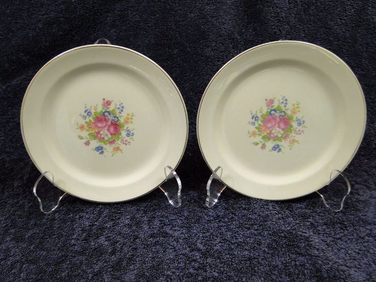 """TWO Taylor Smith Taylor 1821 Bread Plates 6 1/4"""" Floral Roses (Set of 2) NICE!  