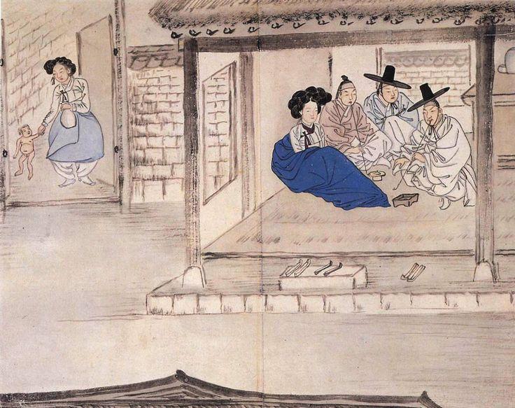 혜원(惠園) 신윤복(申潤福). 홍루대주(紅樓待酒)