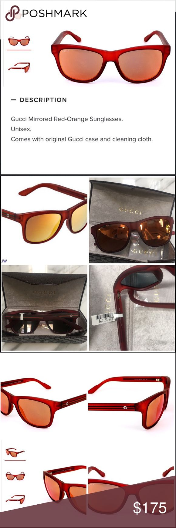 GUCCI UNISEX ORANGE MIRROR LENS RED SUNGLASSES UNISEX, LOOKS GREAT ON BOTH, RED FRAMES , LOGO ON ARMS, ORANGE/ RED  MIRROR LENS, NEW, NEVER WORN , THE DESCRIPTION IS ON THE PICS Gucci Accessories Sunglasses