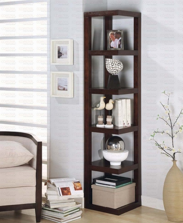 brown wooden corner shelf, Photo  brown wooden corner shelf Close up View.