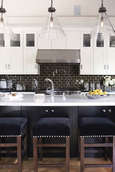 ...Barstools, Lights Fixtures, S'Mores Bar, Pendants Lights, Design Kitchens, Bar Stools, Subway Tiles, White Cabinets, White Kitchens