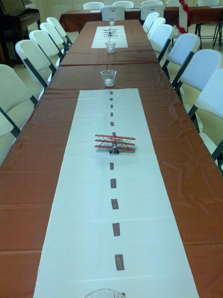 Airplane runway for vintage airplane baby shower