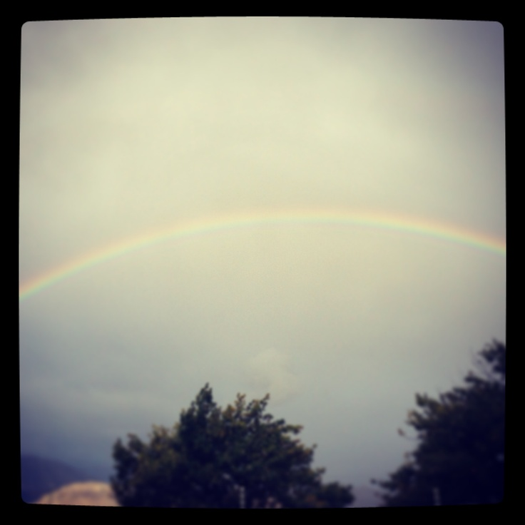 Rainbows and cloudy skies