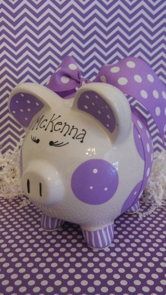 Hucha de púrpura personalizado por OodlesOfOrnaments en Etsy