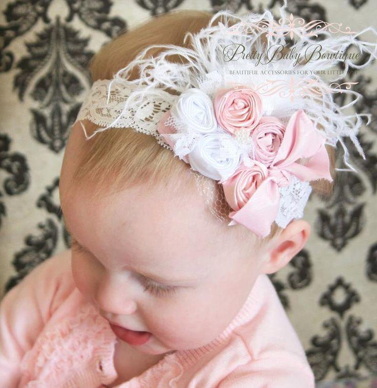 Baby Girl Hair Bow - Couture Baby Headband - Pink and White Baby Headband - White Lace Headband - Baby Feather Headband.via Etsy.