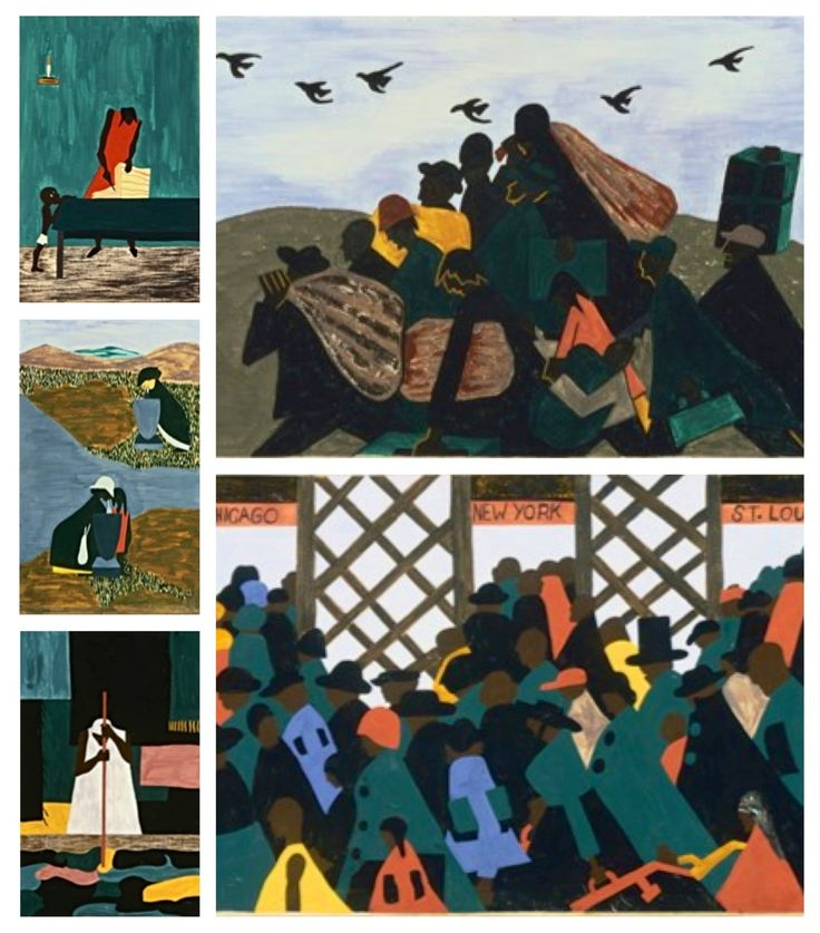 "Jacob Lawrence was born Sept. 7, 1917, in Atlantic City, N.J. ""...best known for his series of narrative paintings depicting important moments in African American history. ... Lawrence began painting in series format in the late 1930s ... on the lives of the abolitionists Frederick Douglass, Harriet Tubman and John Brown,"" and others. (Read more at http://www.pbs.org/wnet/aaworld/arts/lawrence.html)"
