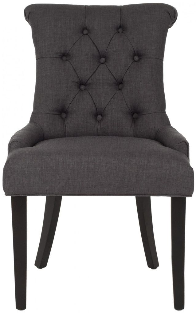 Charcoal Grey Tufted Dining Chairs .