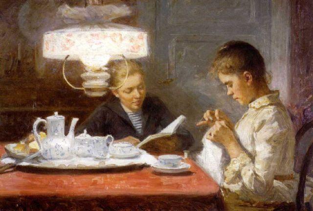 """""""Sisters,"""" 1891 - Finnish Painter Elin Kleopatra Danielson-Gambogi (1861-1919)"""