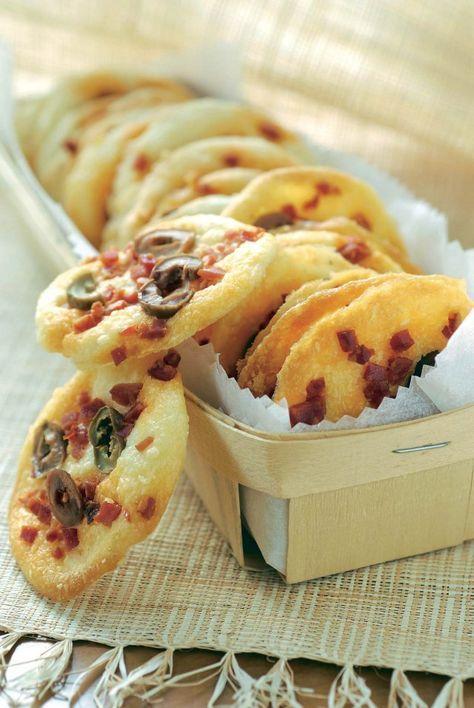 Biscuits au chorizo et aux olives Permet d'utiliser des blancs d'œuf sur