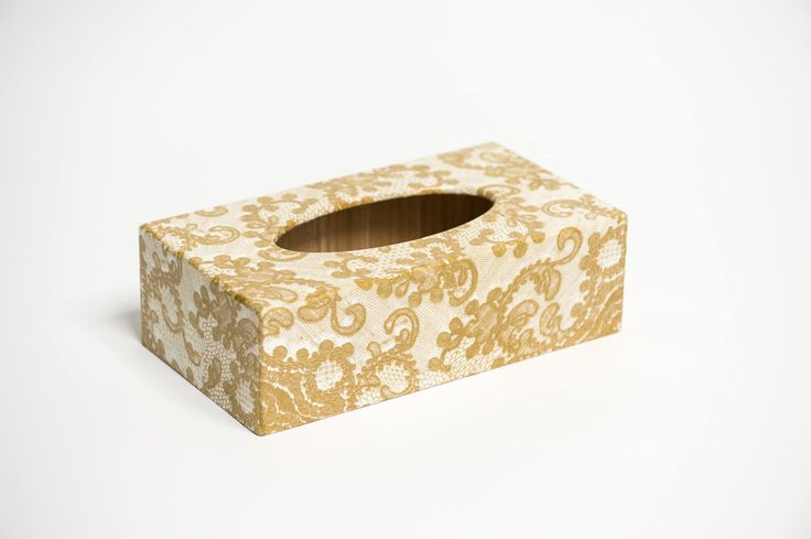 Gold Lace Long Tissue Box Cover handmade in UK wooden perfect gift by crackpotscrafts on Etsy