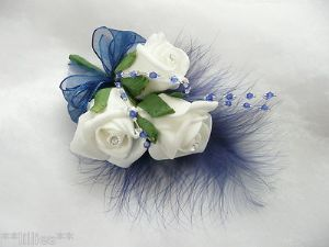 Rose Corsages for Weddings | Navy Blue & White Rose Corsage/buttonhole/wedding Flower B - PIN ON