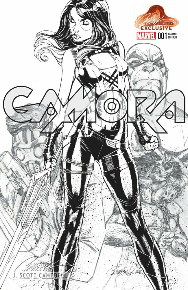 Gamora 1 2016 jsc exclusive bw sketch variant cover by j scott
