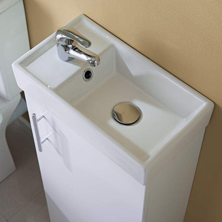 400mm White Minimalist Compact Cloakroom Vanity Unit - Image 2