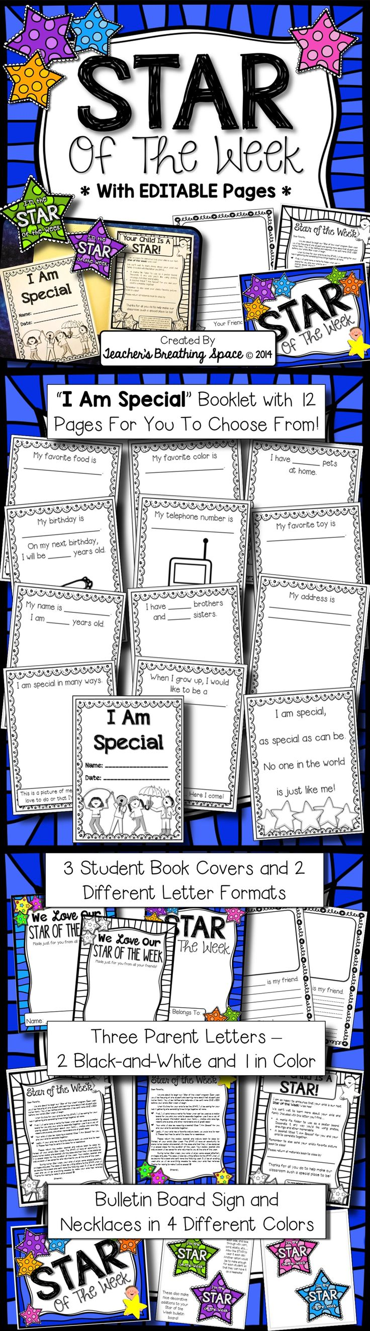 Star of the Week Program Pack with EDITABLE Pages --- Includes Parent Letters, Student Booklet, Bulletin Board Materials and Friendly Letters. So fun!