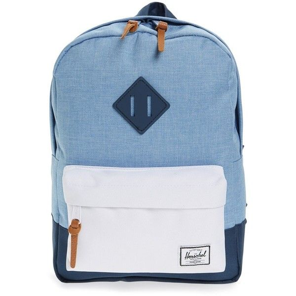 Herschel Supply Co. 'Heritage' Backpack ($40) ❤ liked on Polyvore featuring bags, backpacks, blue multi, blue canvas backpack, herschel supply co backpack, canvas knapsack, day pack backpack and blue canvas bag
