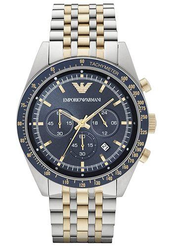 Montre Armani Navy Blue Homme - AR6088 - Quartz - Analogique - Cadran et Bracelet en Acier inoxydable Noir Or et Argent - Date - Etanche 5 bar