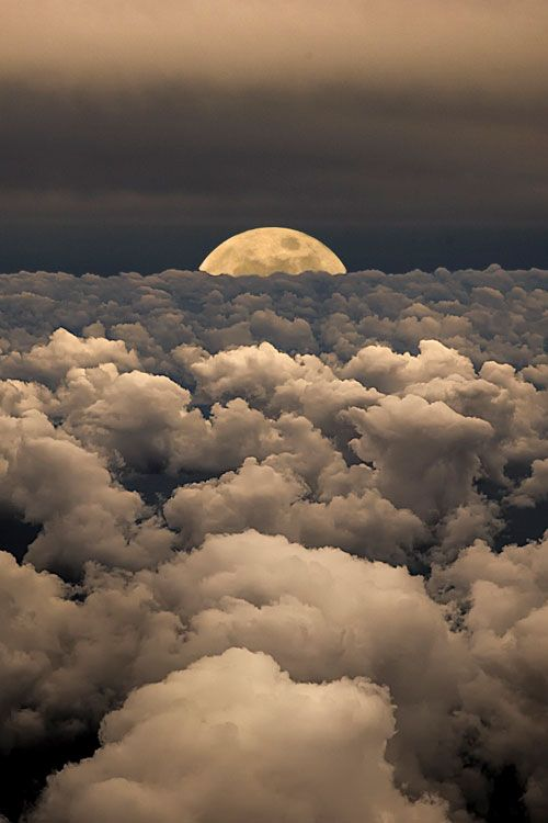 clouds and moon rise
