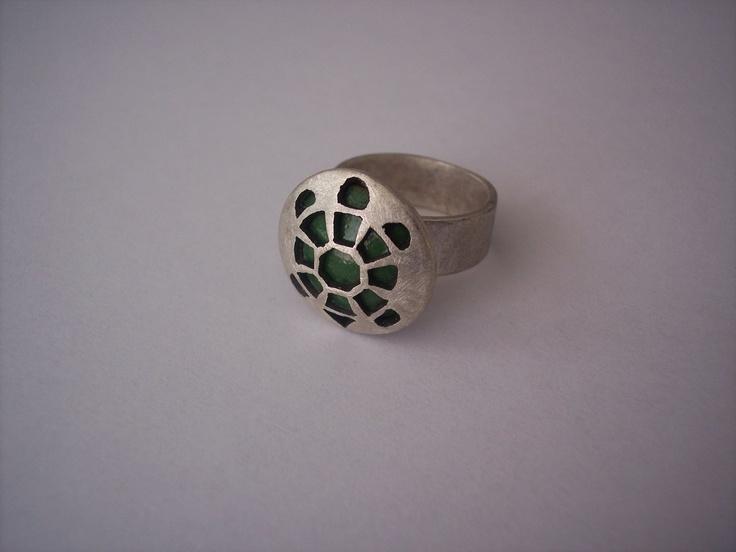 ring schildpad , zilver met emaille
