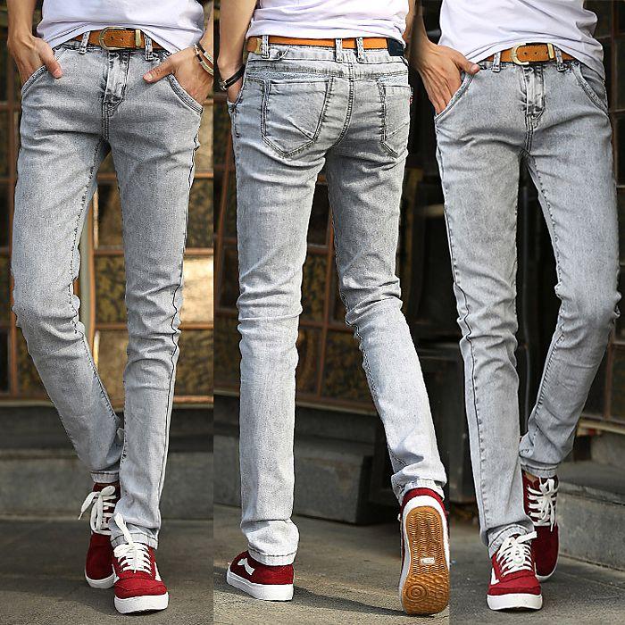 Мужские узкие джинсы мужчины впп проблемные тонкие эластичные джинсы байкер джинсы хип-хоп брюки промывают черные джинсы для мужчин