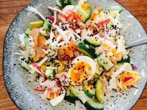 Eiwitrijke salade voor de liefhebbers van sushi! Voor de ingrediënten en bereiding check onze website!