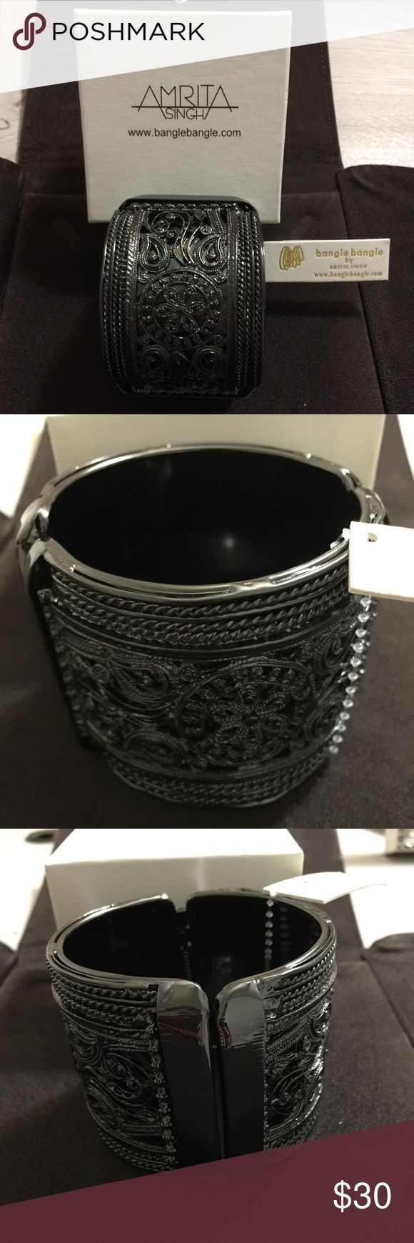 "NWT Amrita Singh Gunmetal Bangle Bracelet Brand new with tags and in plastic and box Amrita Singh Gunmetal cuff Bangle Bracelet. Gunmetal color. Paisley print. Approx 9.5"" around. Style number: KB276. Lead free and nickel free. Amrita Singh Jewelry"