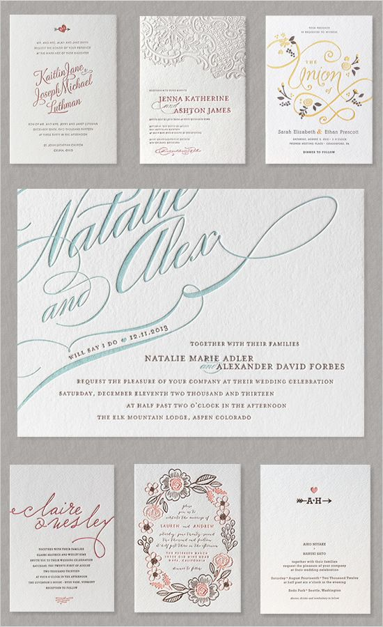 You can't go wrong with letterpressed invites! These are from Minted.
