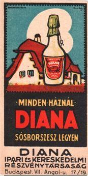 """""""Erényi+Béla+gyógyszerész+Diana+márkanéven+hozott+forgalomba+mentolos+sósborszeszt,+amit+1907-ben+védjegyeztetett+és+""""Diana+sósborszesz+és+kozmetikai+cikkek""""+névre+hallgató+üzletében+árult.+Erényi+amerikai+stílusú+reklámkampányt+indított+a+Diana…"""