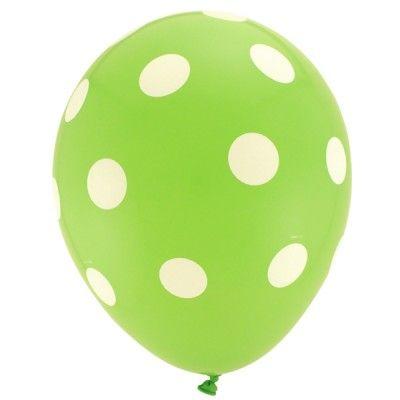 6 globos de lunares de color verde lima http://www.articulos-fiestas-infantiles.es/567-globos-con-lunares-y-lisos