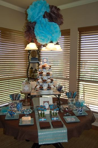 birds baby shower party ideas blue brown showers and table scapes