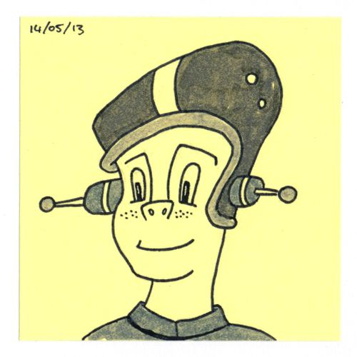 365 #daily #post-it #drawing of a space man