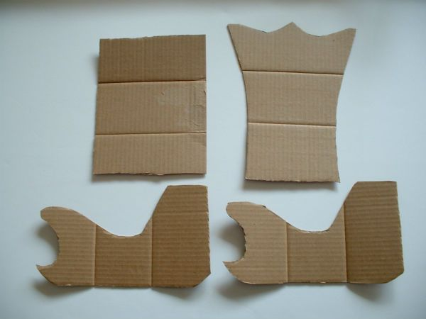 Cardboard pieces used to make the Narnia Sledge.