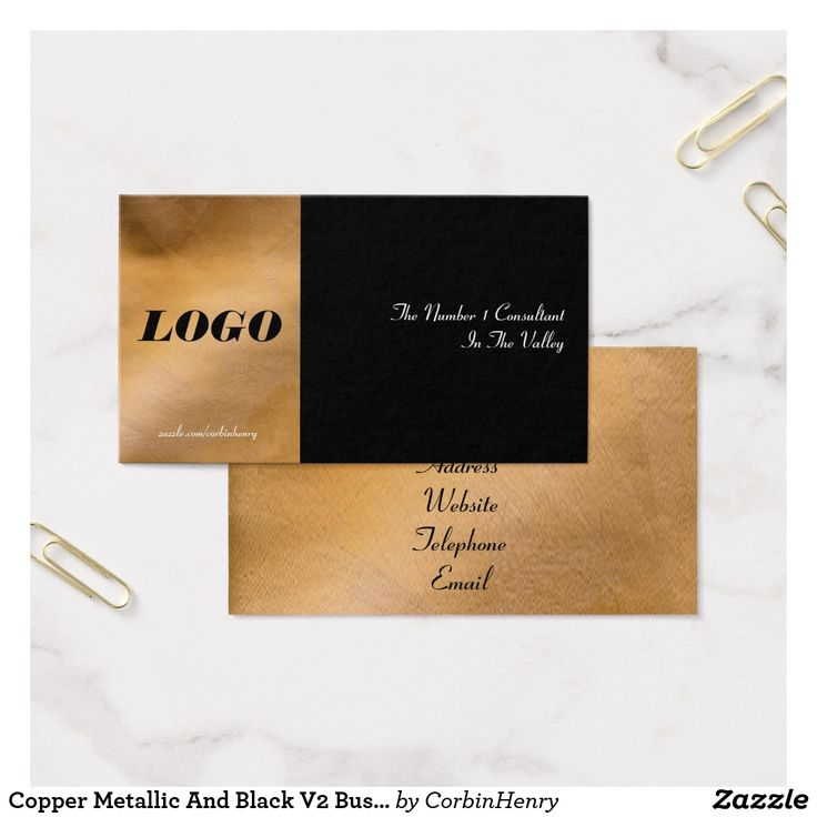 New and improved to make it simpler to make your own business cards online!!! Copper Metallic And Black V2 Business Cards. Designed in traditional style with special copper background colors and lighting blended beautifully with classy black and white features.
