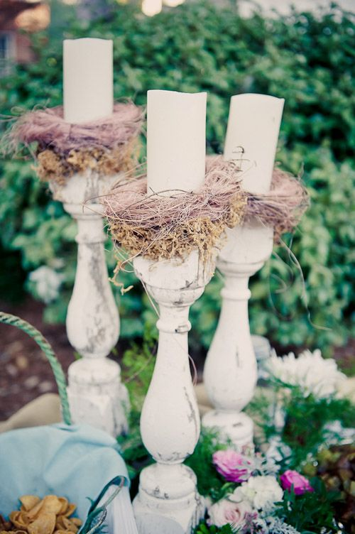 I love the birds nest's holding the candle