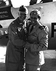 Eugene Deatrick & former POW Dieter Dengler, US Naval Air Station, Miramar, California, 1968. USN photo)
