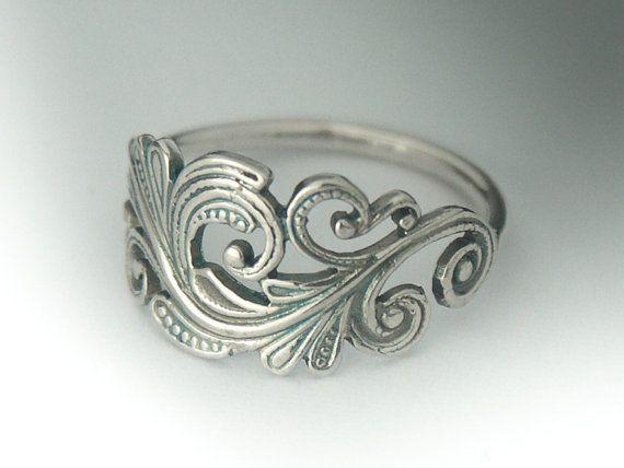Clásico plata Art Nouveau del anillo. Anillo de por BINSTER en Etsy
