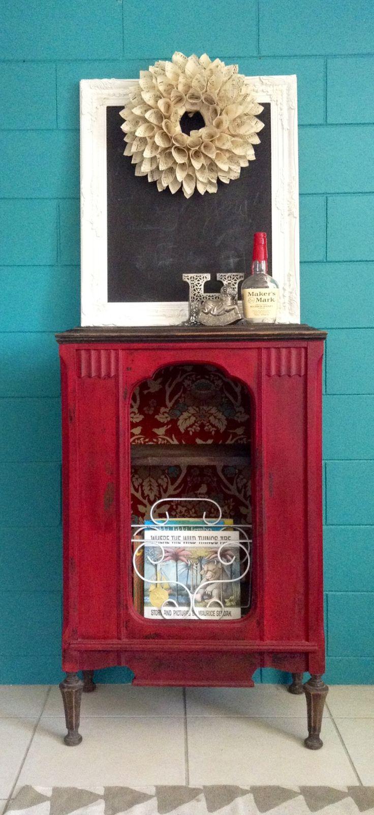 Reworked radio cabinet. Milk paint furniture. Decoupage interior