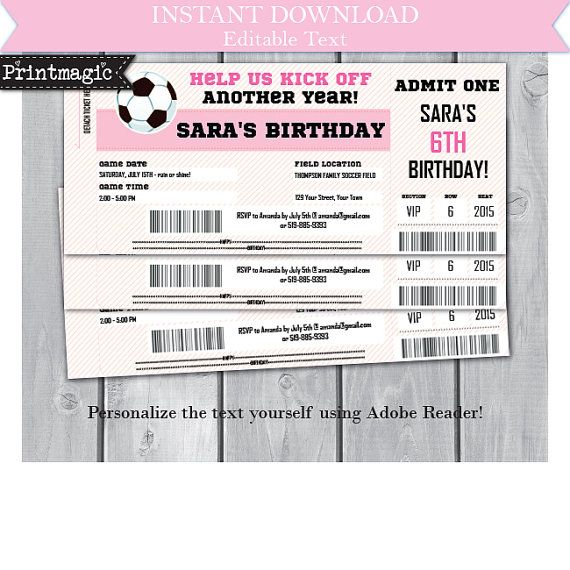 134 best birthday party invitations images on pinterest birthday pink girl soccer birthday party invitation editable by printmagic stopboris Choice Image