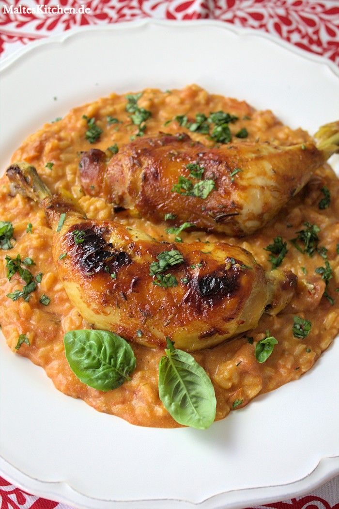 Orangenhähnchen mit Tomatenrisotto <3 #risotto #chicken #huhn