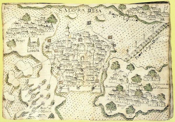 1684. Η Άγια Μαύρα (μέσα στο Κάστρο), η Αμαξική, η Χώρα (loggia) & το υδραγωγείο (ponte di aqua doffo).