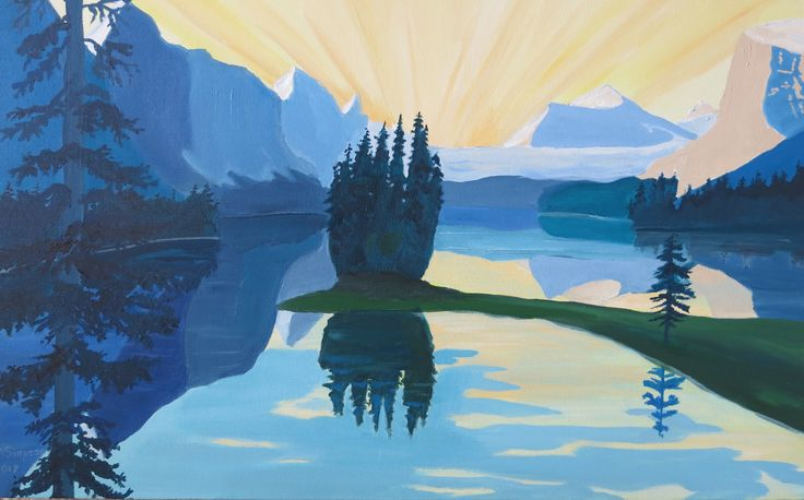 "Maligne Lake, Jasper, measures 18"" x 29"", painted in acrylic on Gallery canvas, no frame."
