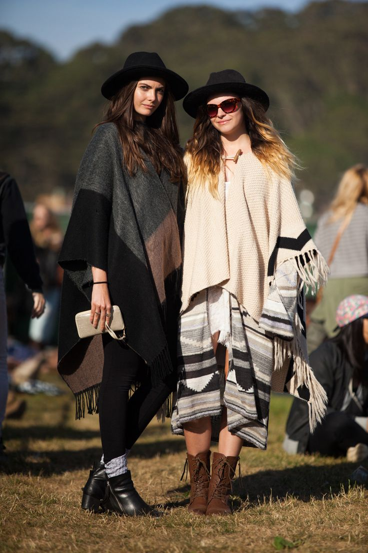30+ Stylish Folks Spotted At Outside Lands #refinery29 http://www.refinery29.com/outside-lands-street-style#slide2 Sisters Savannah and Shelby Dimarco in cool, coordinating ponchos.