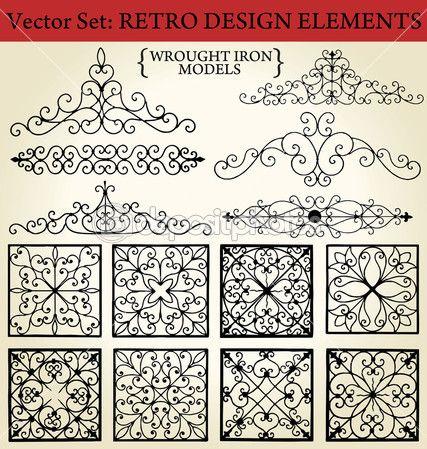 Ferro forjado - elementos de design retrô — Ilustração de Stock #6042547