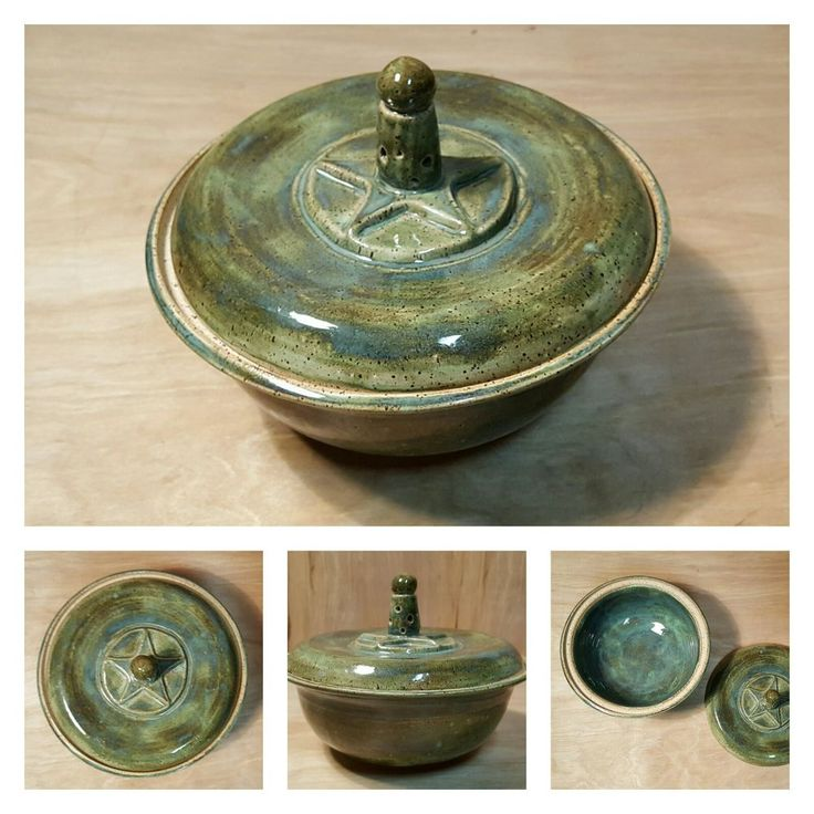 "Studio Pottery 7"" Green COVERED BOWL ~ DAVID Davis WILSON ~ Hartford Connecticut #Colonial #Country #Studio #Pottery #Bowl"