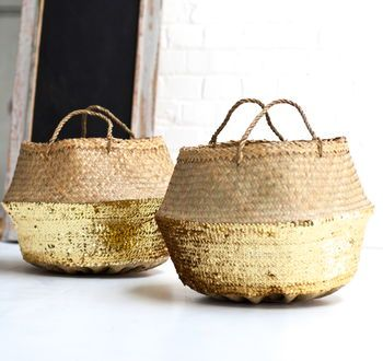 Gold Sequin Dipped Seagrass Basket