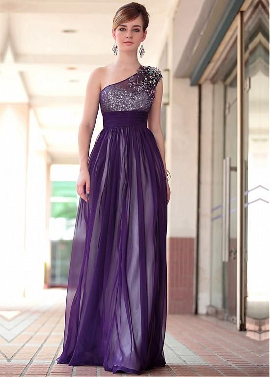In Stock Gorgeous A-line One Shoulder Neckline Empire Waist Purple Full Length Evening Dress